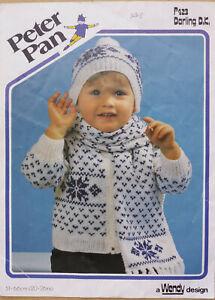 Baby Boys Bobble Hat Jacket Cardigan Scarf Knitting Pattern Fairisle