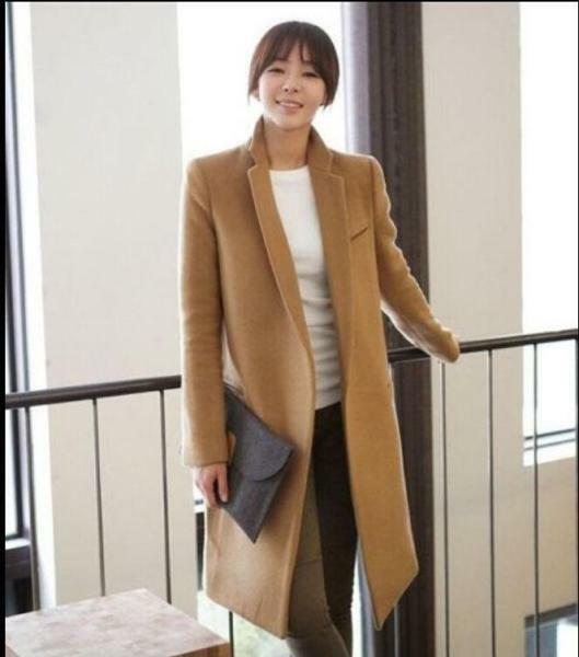 Winter New New New Wool fashion Blend Womens Slim Camel Trench long sleeve casual Coat c049b1