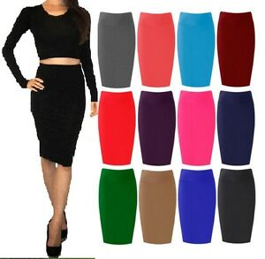 New-Womens-Plain-Bodycon-Pencil-High-Waisted-Ladies-Stretch-Midi-Skirt-lng-wigl