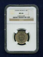 MEXICO ESTADOS UNIDOS 1939 10 CENTAVOS COIN CERTIFIED GEM UNCIRCULATED NGC MS-66