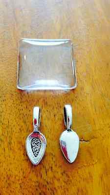 Cabochon pendant setting with bail - antique silver oval - 5 sets