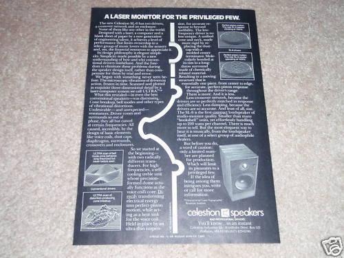 Nice Ad! Celestion Ultra SL-6 Speaker Ad,1981