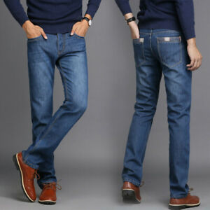 Men-039-s-Fleece-Lined-Denim-Jeans-Long-Pants-Winter-Thick-Thermal-Warm-Trousers