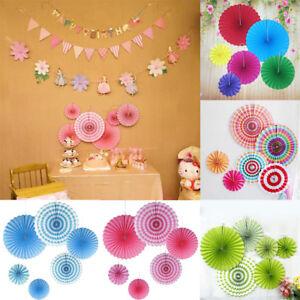 6set Hanging Paper Fan Pinwheel Garland Childrens Birthday Party