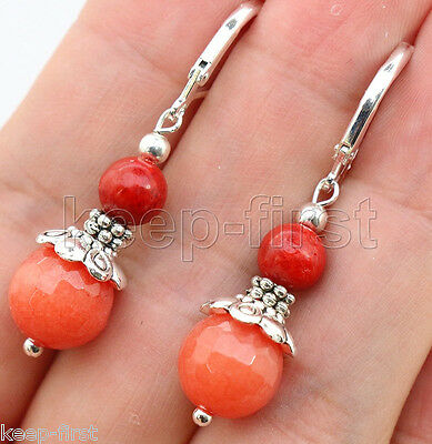 New Fashion Leverbacks Faceted Orange Jade&Red Coral Sterling Silver Earrings