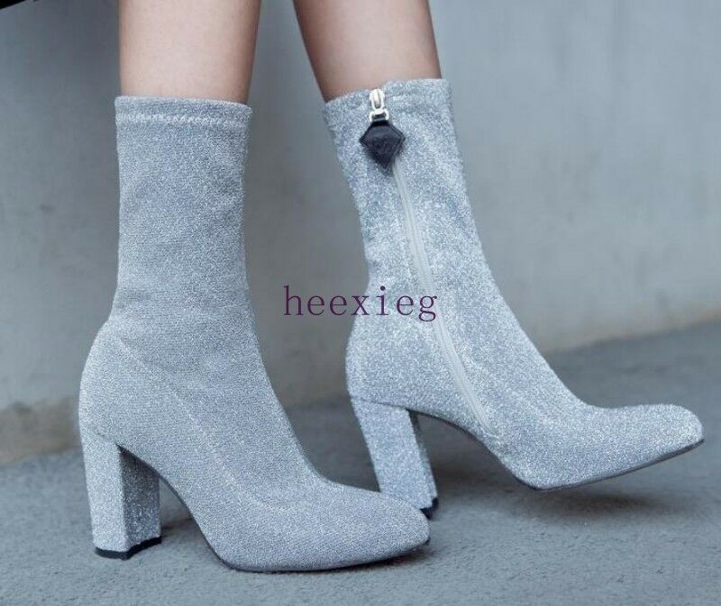 Euro femmes Elasticity chaussures Side Zip Pointy Toe High Chunky Heel bottes US 4.5-8