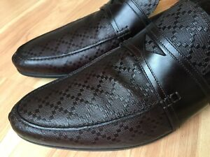 GUCCI-Hilary-Diamante-Embossed-Brown-Penny-Loafer-245583-UK-10-US-11-650