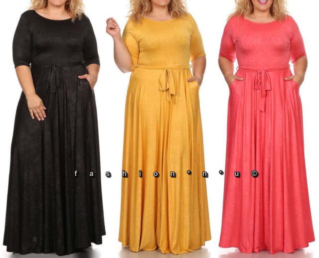 d730c6e991c Plus Solid Tie Wrap Maxi Dress Side Pocket Long Sweep Skirt Black Yellow  Coral