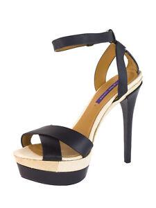 RALPH LAUREN Purple Label Women s Black Ankle Strap Platform Sandals ... 032a9f60f1b