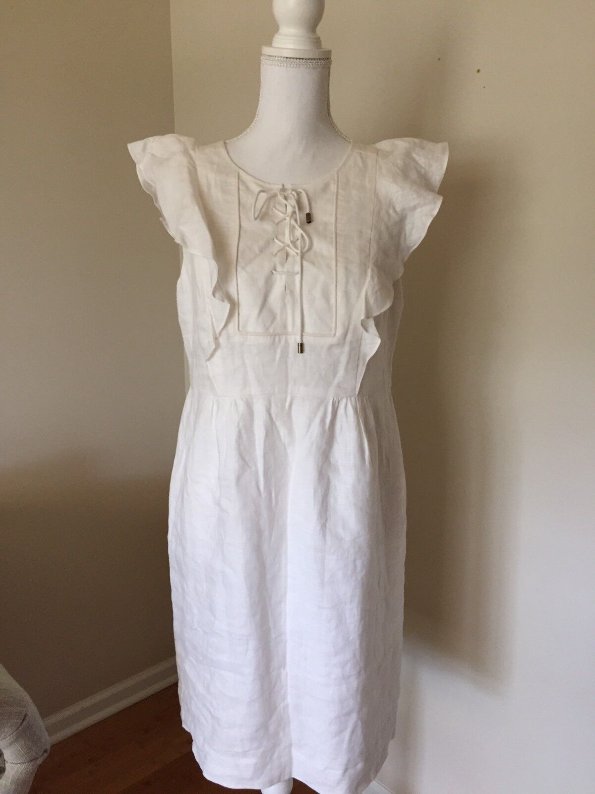 New J CREW Lace-Up Dress in Linen Ruffle Cap Sleeve Size 6 White  148 A5836