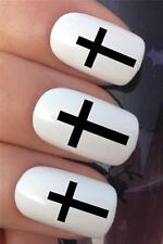 WATER NAIL TRANSFERS BLACK CHURCH CROSS DECORATION DECALS STICKERS NAIL ART *357