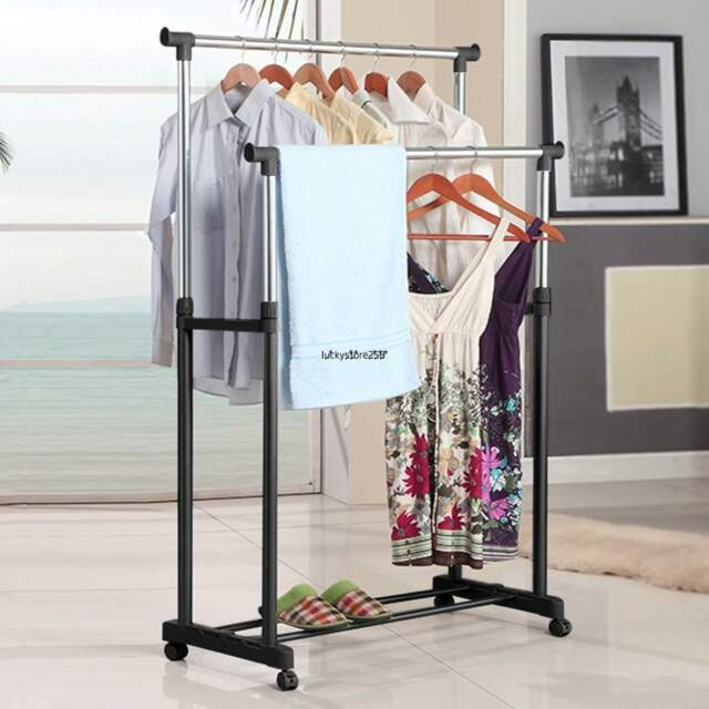 Portable Double Rolling Rail Adjustable Clothes Garment Rack Hanger Hanging