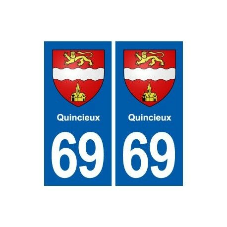 69 Quincieux blason autocollant plaque stickers ville droits