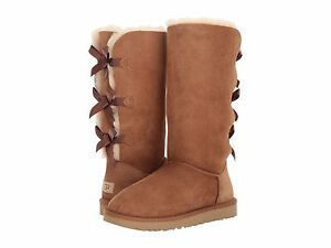 Women S Shoes Ugg Bailey Bow Tall Ii Sheepskin Boots 1016434 Chestnut Ebay