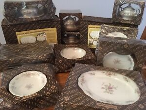 JOHANN-HAVILAND-BAVARIA-MOSS-ROSE-CHINA-60-PIECE-SET-SERVICE-FOR-8-New-in-Boxes
