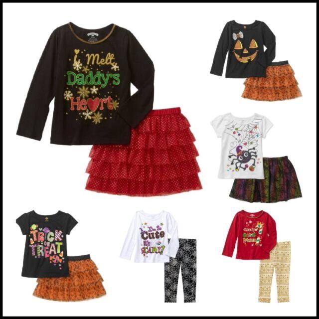 new baby toddler girls halloween christmas tee skirt leggings 2 pc outfit set