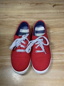 women's red canvas shoes lace up casual sneakers footwear