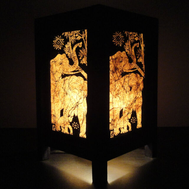 Asian Oriental Elephant Zen Art Bedside Table Lamp Wood Shades Lights