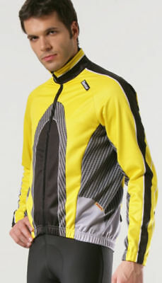Made in Italy By Santini /'K2/' Windproof Thermal CYCLING JACKET in YELLOW