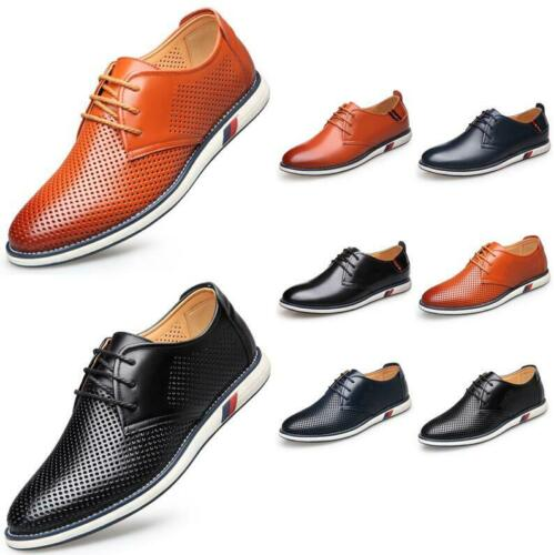 British Men Casual Leather Shoes Lace-up Sneakers Oxford Breathable Hollow Out