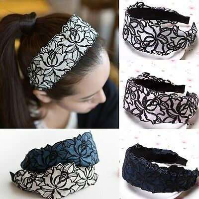 Fashion Lace Head Band Elegant Wide Bow Girl Women Hair Accessories Hair Jewelry