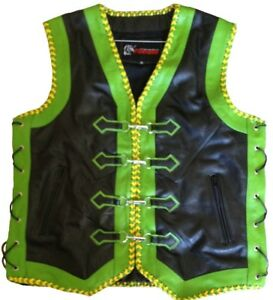 Bolo Cord Motorcycle Biker Vest Motorbike Waistcoat Braided PU// Synth Leather