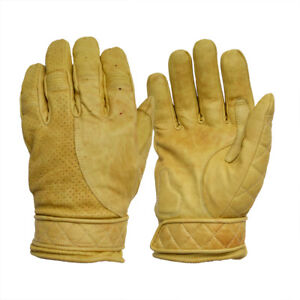 Goldtop Fleece Lined Waxed Tan Leather Short Bobber Motorcycle Gloves