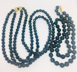 Lot-of-2-Black-Glass-Beaded-Necklaces-Double-Strand-French-Jet-Vintage-Jewelry