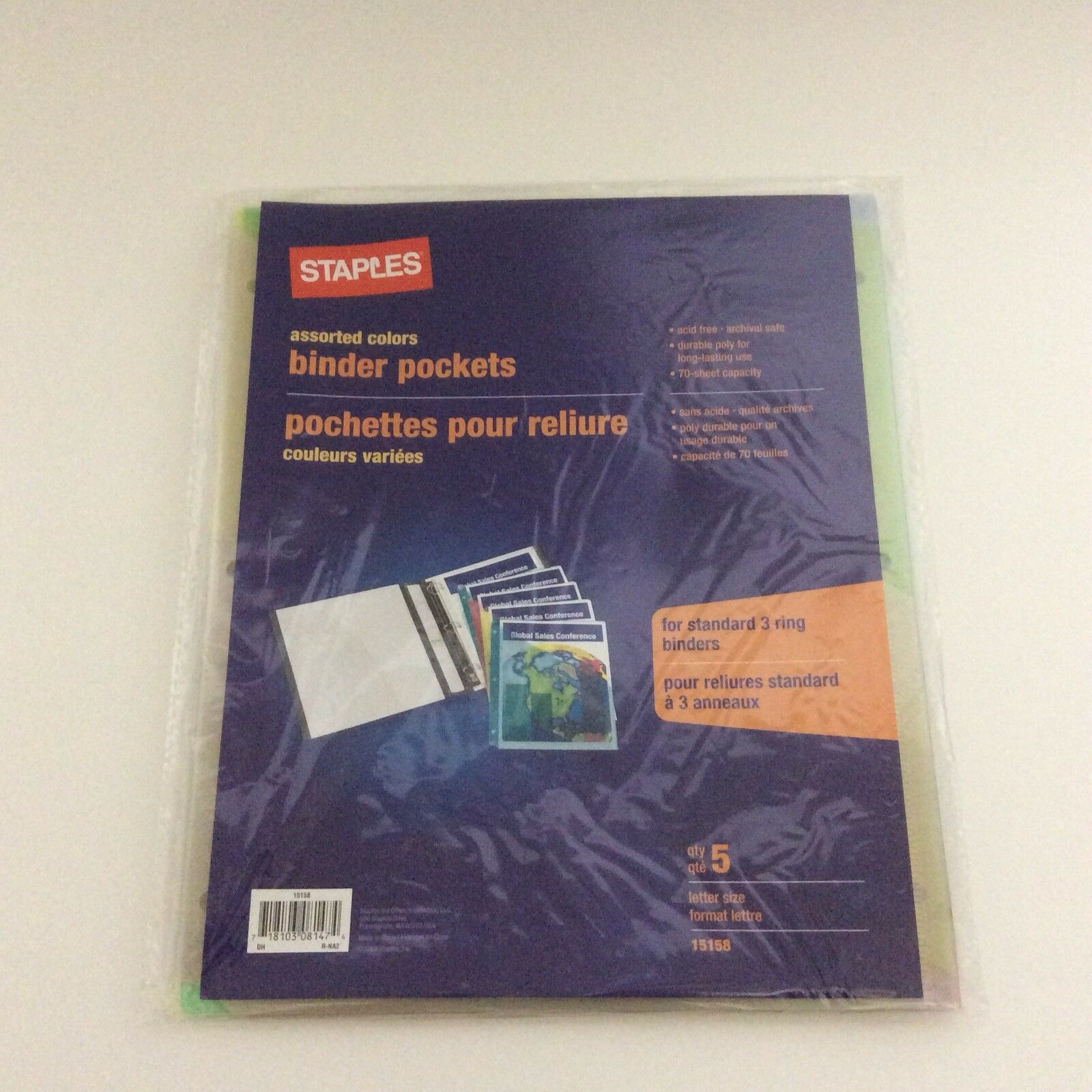 Staples Poly Binder Pockets 3-Hole Punched Assorted Colors 5//PK 15158-CC