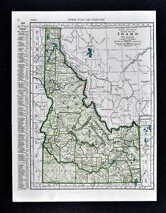 C1930 Rand Mcnally Map Idaho Boise Caldwell Pocatello Wallace Dubois