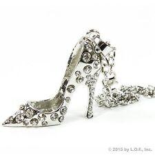 Silver Bling High Heel Shoe Rear View Mirror Car Charm Ornament Clear Rhinestone