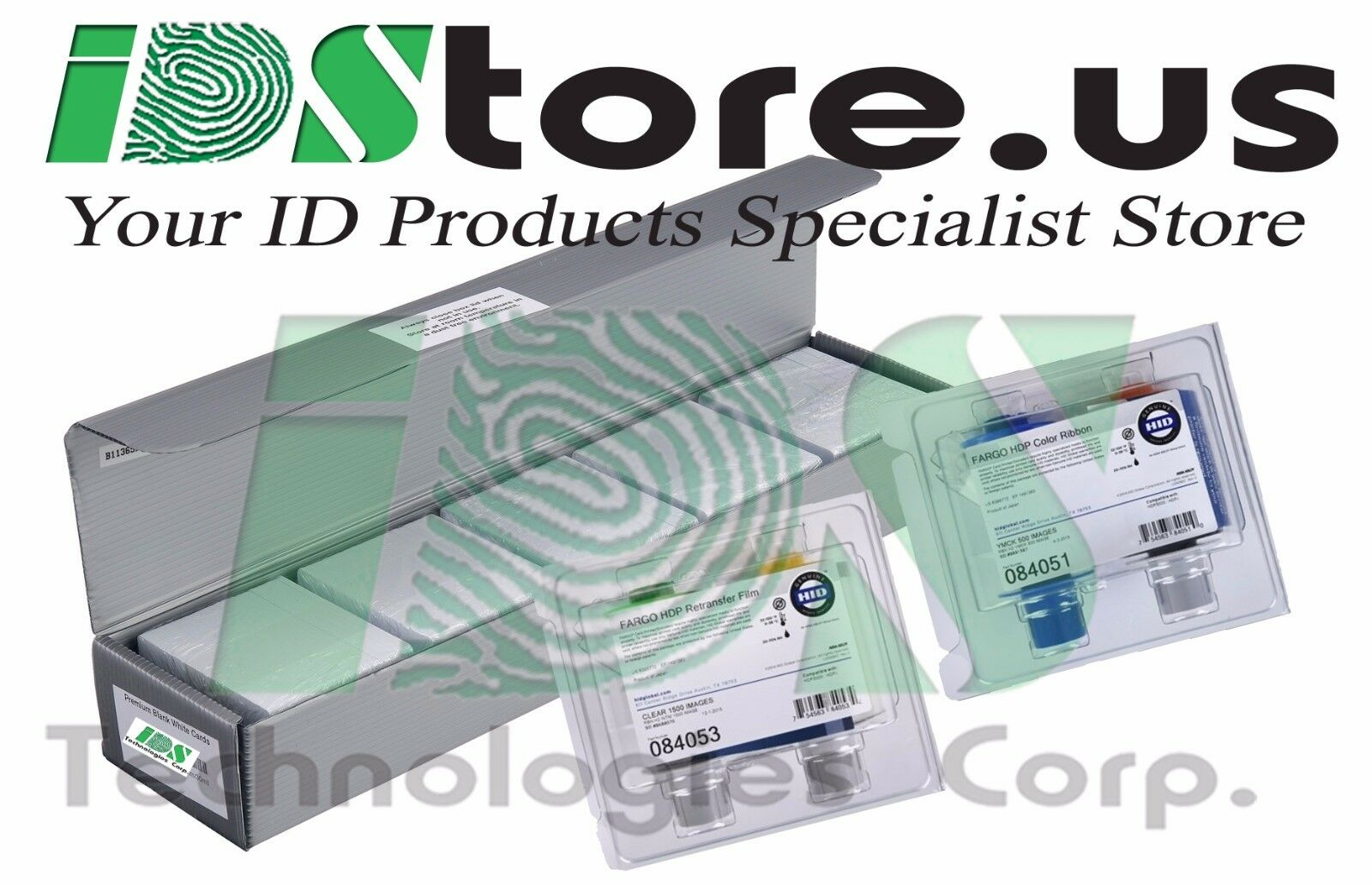 YMCKOK 500 Prints /& Fargo 84053 1500 Print Retransfer Film with Volty ID Premium CR80 30 Mil Graphic Quality PVC Cards Fargo 84051 Color Ribbon Qty 500