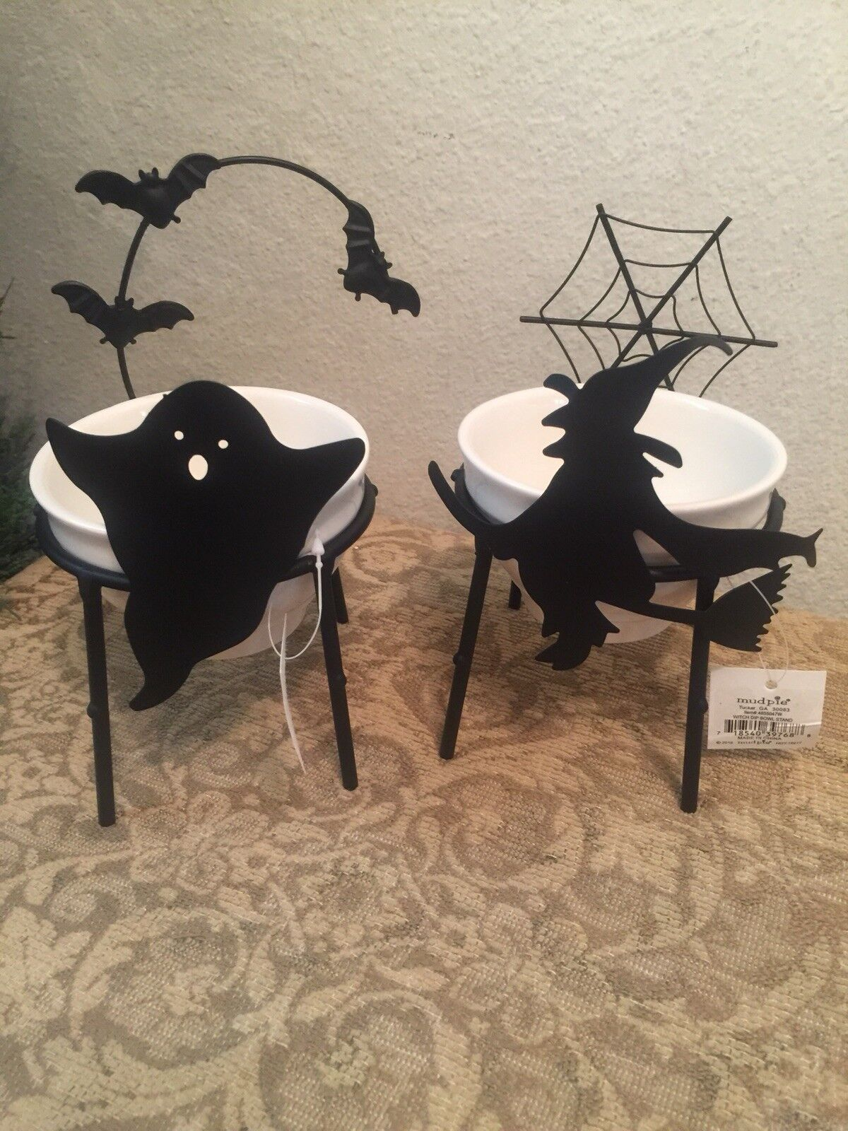 Mud Pie H7 Halloween Kitchen Dining Dip Cup Bowl & Stand 4855047 Ghost & Witch