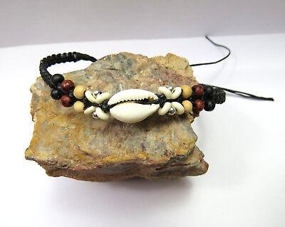 Armband Armschmuck Kaurimuscheln Holz Schwarz Weiß Braun Ethno Hippie Indianer Hohe Sicherheit