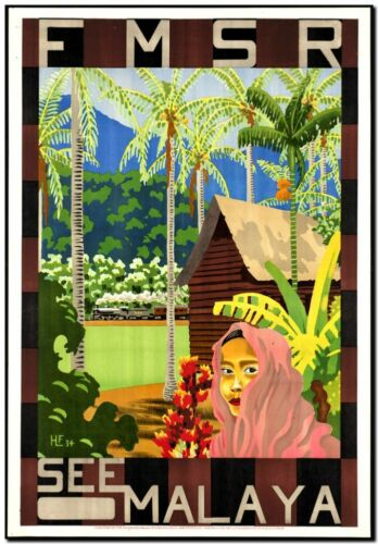"""Cool Retro Travel Poster *FRAMED* CANVAS ART Malaysia 16/""""x12/"""""""