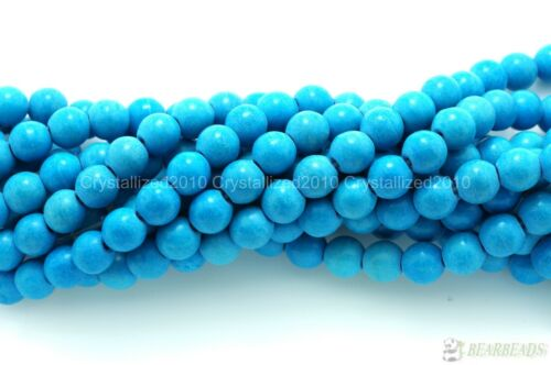 Blue NACRES Turquoise Pierres Précieuses Perles Rondes 2 mm 3 mm 4 mm 6 mm 8 mm 10 mm 12 mm 16/""