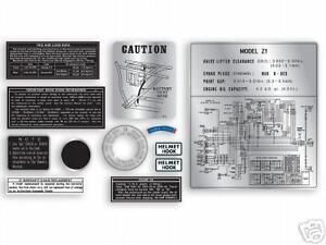 1972 & 1973 Kawasaki Z1 -12 Pc. Warning Set