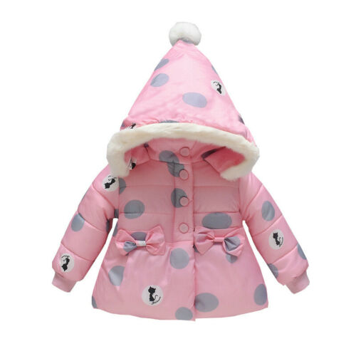 Toddler Kids Baby Boys Girls Winter Jacket Thick Snow Hoodie Coats Outwear US