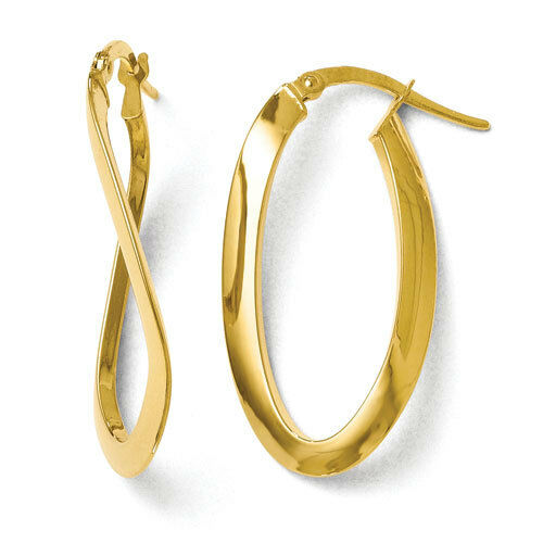 Leslies 14k Yellow gold Twisted Polished Oval 6mm x 33mm Hinged Hoop Earrings