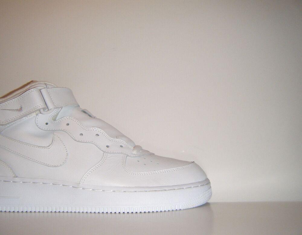 OG Vtg 2003 Nike Air Obliger 1 Mid ALL blanc QS Sz. 14 SP RARE Sample 624039-117