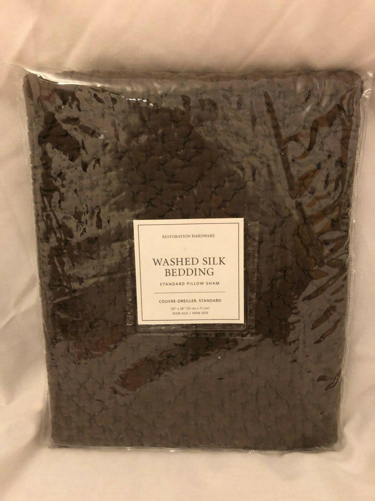 Restoration Hardware Brown Standard Pillow Sham Washed Silk Sable New