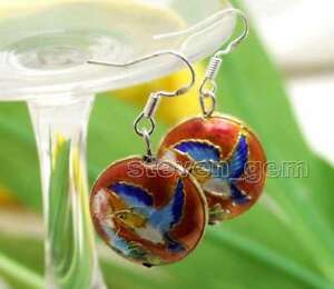 SALE-Beautiful-Big-18mm-Red-Round-Cloisonne-Beads-Dangle-1-5-039-039-earring-ear585