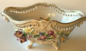 Dresden-Hand-Painted-Floral-Footed-Bowl-with-Applied-Flowers-As-Found