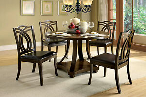 Dining Room 5pc Dining Set Dark Walnut Finish Table Unique Design Dining Chairs