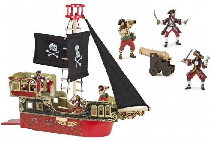 Papo Pirate Ship with 3 Figures 80402 Wood