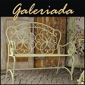 gartenbank metall sitzbank parkbank teerassenban landhaus wei elegance 094 ebay. Black Bedroom Furniture Sets. Home Design Ideas