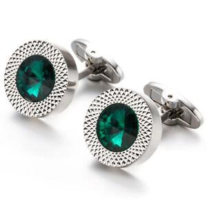 Silver-Cufflinks-Circular-Round-Green-Stone-Pair-Wedding-Mens-Pair-Cuff-Links