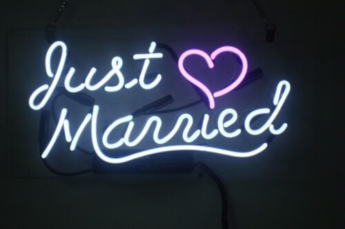 Christmas Gift Neon Sign Just Married Beer Bar Pub Girlsroom Party Decor14/'/'x7/'/'