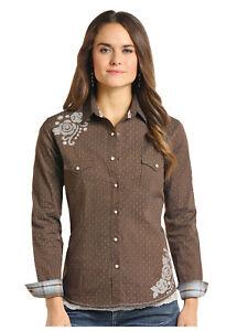 Panhandle-Slim-Women-039-s-Brown-Cactus-amp-Flower-Print-Snap-Up-Shirt-R4S7590