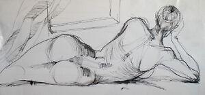 Modernist-ink-painting-nude-female-portrait